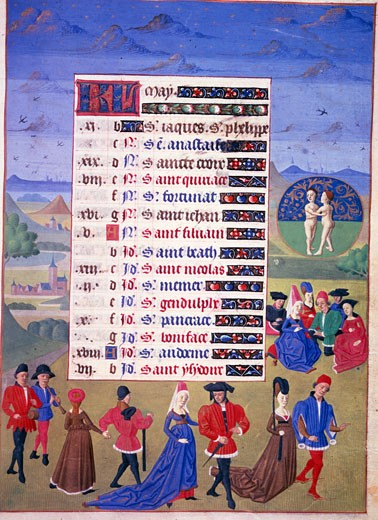 Stock Photo: 463-3053 Image of the Month of May: Dance in May and Game of Forfeits,  illuminated manuscript,  1450,  France,  Chantilly,  Musee Conde