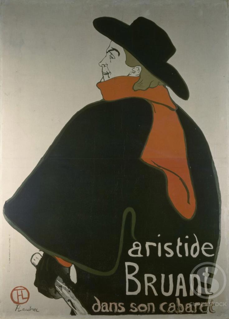 Aristide Bruant Dans Son Cabaret 1893 Henri de Toulouse-Lautrec (1864-1901 French)  Poster Staatliche Kunstsammlungen, (Galerie Neue Meister), Dresden, Germany : Stock Photo