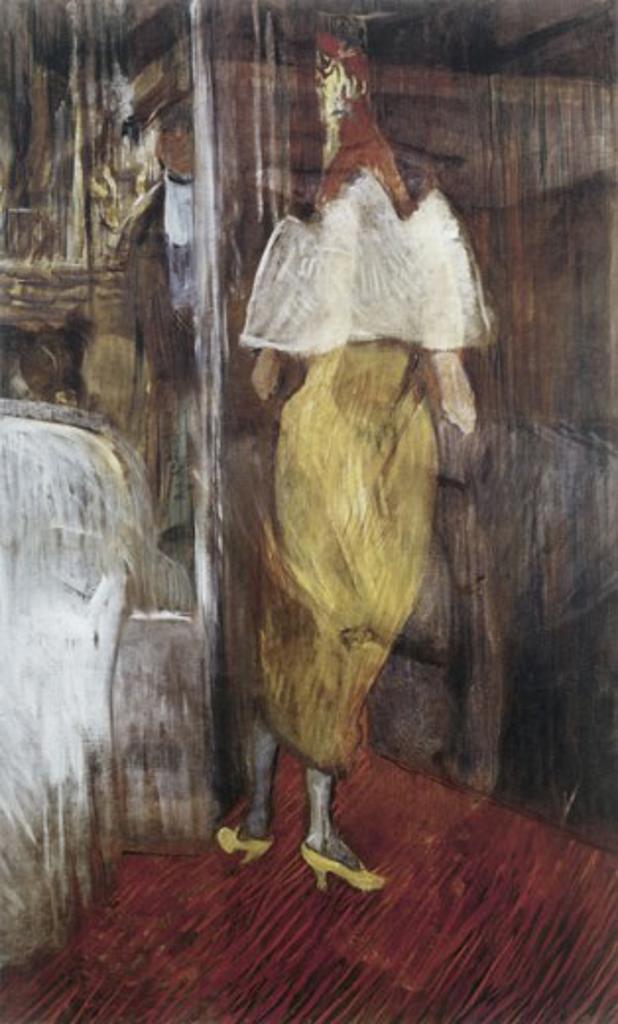 Stock Photo: 463-3067 Femme en Toilette de Bal a l'Entree d'Une Loge  1889/90 Henri de Toulouse-Lautrec (1864-1901 French) Painting Musee Toulouse-Lautrec, Albi, France