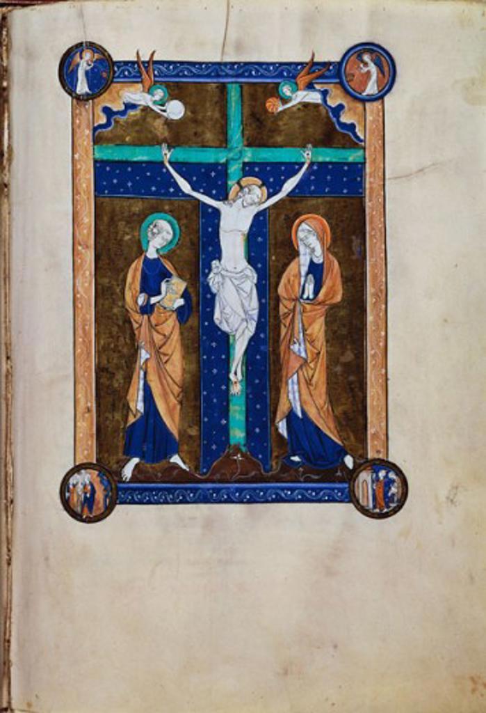 Crucifixion Mass Book of King Louis 13th C. Manuscripts San Francesco, Assisi  : Stock Photo