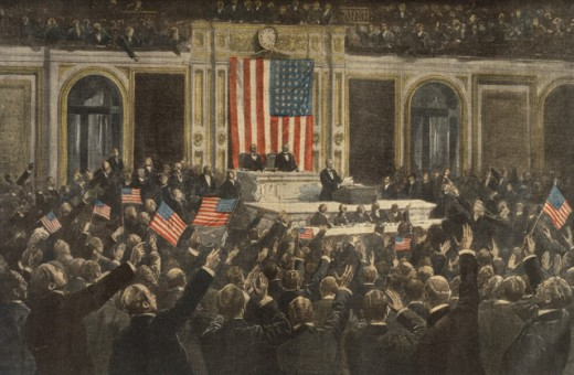Stock Photo: 463-3132 President Wilson's Address to Congress to Join the Allies Against Germany