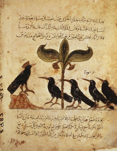 Stock Photo: 463-3136 The Council of the Ravens Arabic Book Illustration 1350 Manuscripts Bibliotheque Nationale, Paris, France
