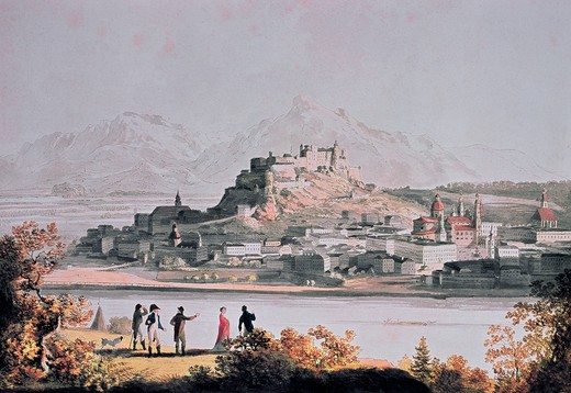 Stock Photo: 463-3215 City View From Kapuzinr Hill in Salzburg by Anton Balzer,  1771-1807 German,  colored etching,  Salzburg,  Austria,  Museum Carolino Augusteum,  1802