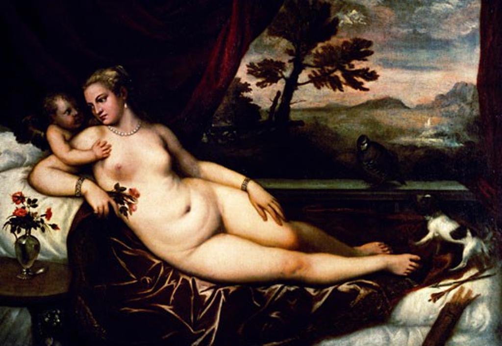 Stock Photo: 463-3270 Venus and Cupid 1545 Titian (ca.1485-1576/Italian) Oil on canvas Galleria Degli Uffizi, Florence, Italy