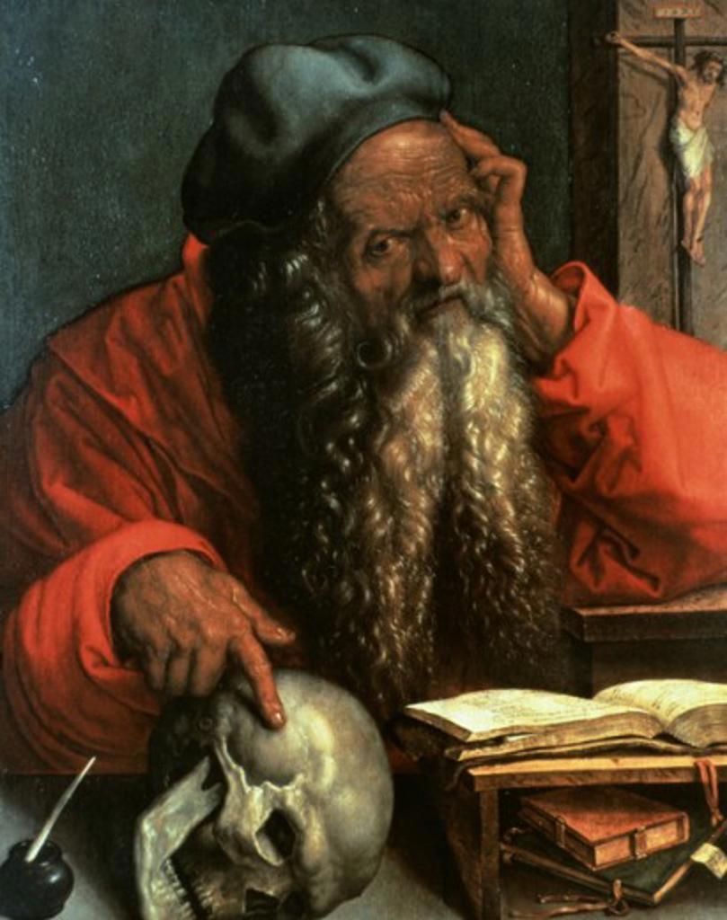 Stock Photo: 463-3284 Saint Jerome Albrecht Durer 1471-1528  German Museu Nacional De Arte Antigua Lisbon Portugal