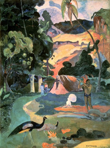 Stock Photo: 463-3291 Matamoe (Landscape with Peacocks) 