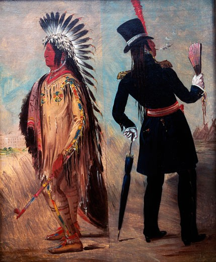 Stock Photo: 463-3304 Native americans,  by George Catlin,  (1794-1872),  USA,  Washington,  D.C.,  National Museum of American Art