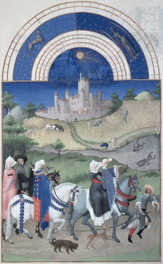 Stock Photo: 463-3326 Les Tres Riches Heures Du Duc De Berry-August 1416 Limbourg Brothers (Fl.1400-1416 Flemish) Illuminated Manuscript Musee Conde, Chantilly, France
