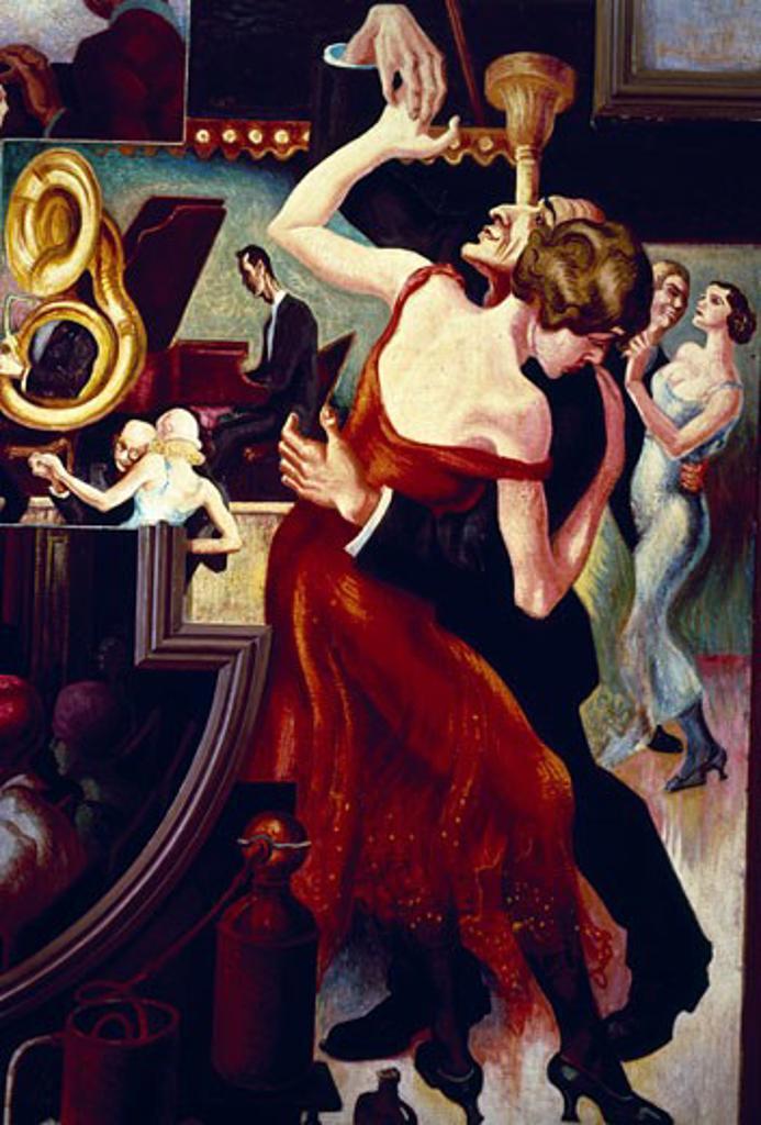 Stock Photo: 463-3348 Couple Dancing,  by Thomas Hart Benton,  1930,  (1889-1975),  USA,  New York,  New York City,  New School University