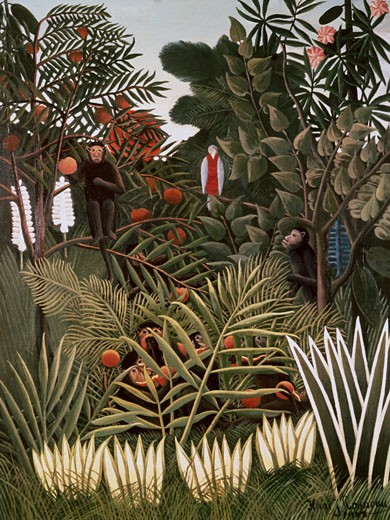 Stock Photo: 463-3399 Exotic Landscape With Monkeys And A Parrot 1908 Henri Rousseau (1844-1910 French) Painting Private Collection