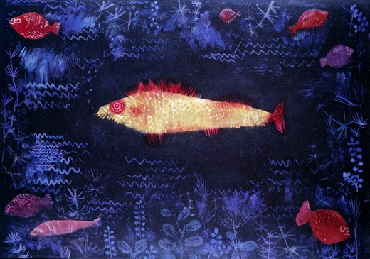 The Golden Fish by Paul Klee,  1879-1940 Swiss,  watercolor,  Germany,  Hamburg,  Kunsthalle,  1925 : Stock Photo