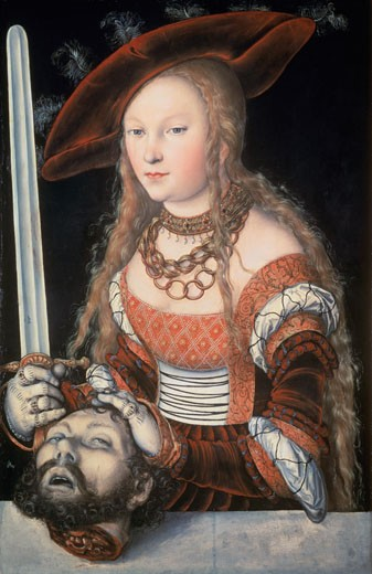 Judith With The Head Of Holofernes 1530 Lucas Cranach the Elder (1472-1553 German) Oil On Wood Panel Kunsthistorisches Museum, Vienna, Austria : Stock Photo