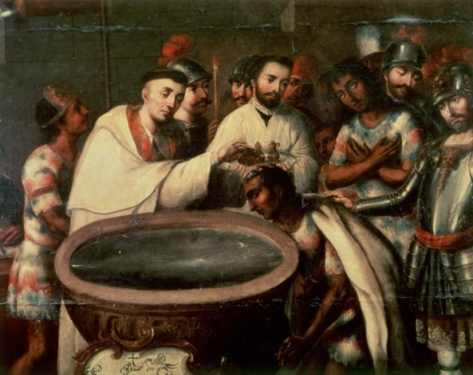 Dominicans Baptising Indians (Latin-American)