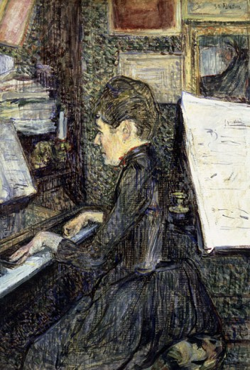 Stock Photo: 463-3568 Mademoiselle Dihan at the Piano
