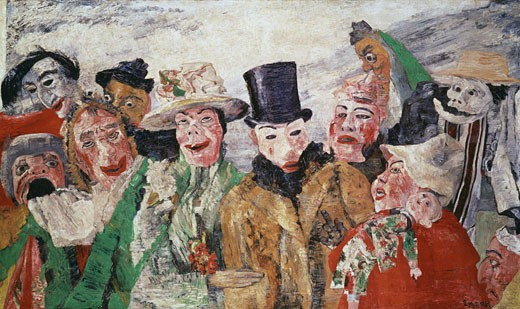 The Intrigue 1890 James Ensor (1860-1949 Belgian) Oil On Canvas Musee des Beaux-Arts, Antwerpen, Belgium : Stock Photo