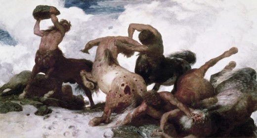 FIGHTING CENTAURS 1873 OIL ON CANVAS Bocklin, Arnold 1827 d1901 Swiss Kunstmuseum Basel, Switzerland  : Stock Photo