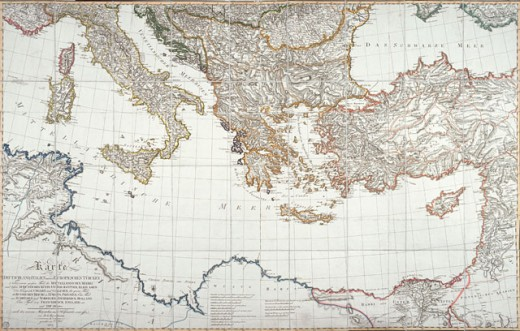 Stock Photo: 463-3661 Map of Europe, 1802 Maps Post Museum, Berlin, Germany