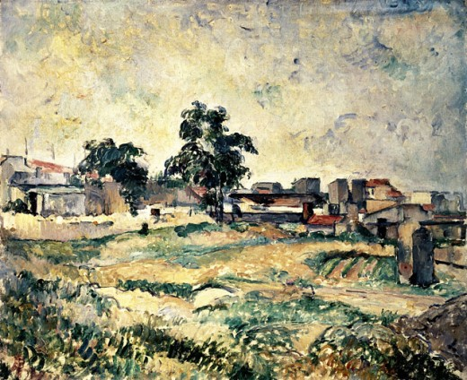 Houses and Trees in Provence Paul Cezanne (1839-1906 French) Oil on canvas National Gallery of Art, Washington, D.C., USA : Stock Photo
