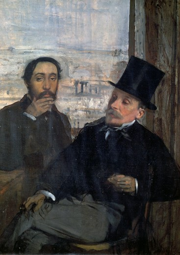 Degas and Evariste De Valernes by Edgar Degas,  1834-1917 French,  oil on canvas,  France,  Paris,  Musee d'Orsay,  1864 : Stock Photo