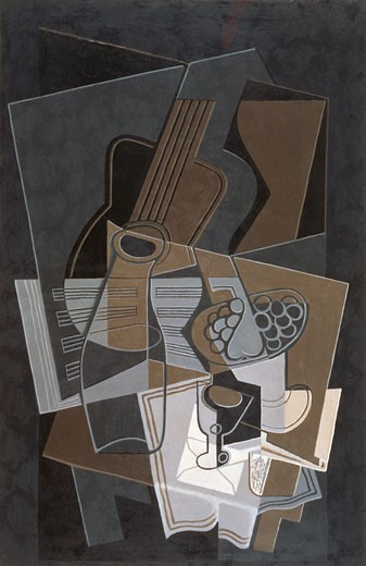 Stock Photo: 463-3769 Guitar And Bottle 1921 Juan Gris (1887-1927 Spanish) Kunstmuseum Bern, Switzerland