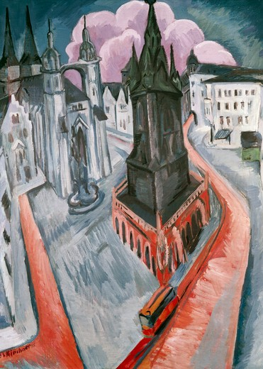 Stock Photo: 463-3812 Der Rote Turm in Halle by Ernst Ludwig Kirchner,  1880-1938 German,  tempera on canvas,  Germany,  Essen,  Folkwang Museum,  1915