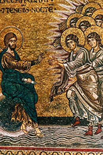 Creation of the Light and the Angels,  artist unknown,  mosaic,  Italy,  Sicily,  Monreale Cathedral,  12-13th century : Stock Photo
