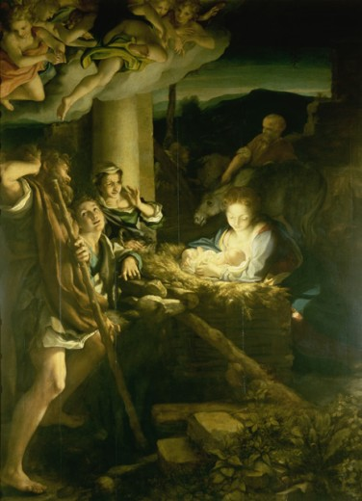 Stock Photo: 463-3861 The Holy Night 1522-30 Correggio (1489/94 -1534 Italian) Oil on wood panel Gemaldegalerie, Dresden, Germany