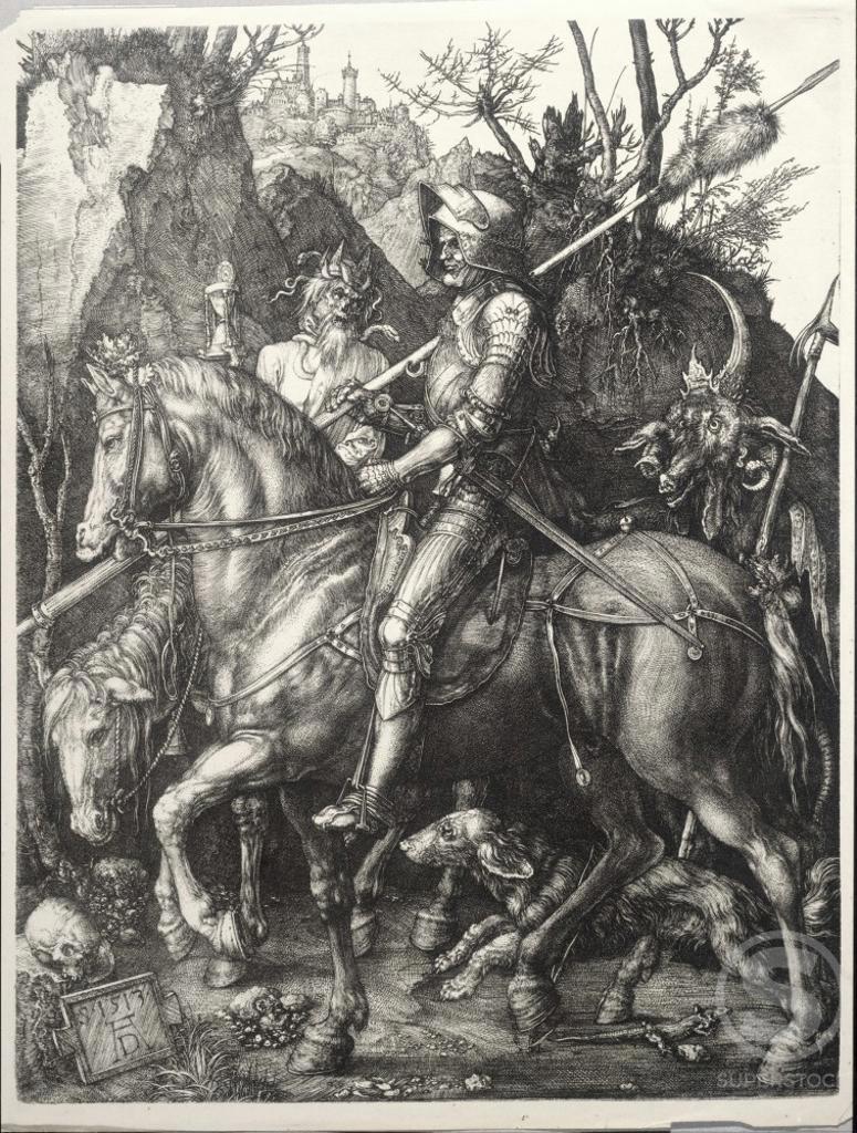 Stock Photo: 463-3865 Knights, Death, and the Devil 1513 Albrecht Durer (1471-1528 German) Copper engraving Kunsthalle, Karlsruhe, Germany