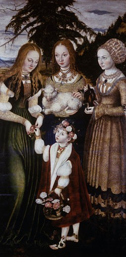 Stock Photo: 463-3897 Saints Dorothea, Agnes and Kunigunde