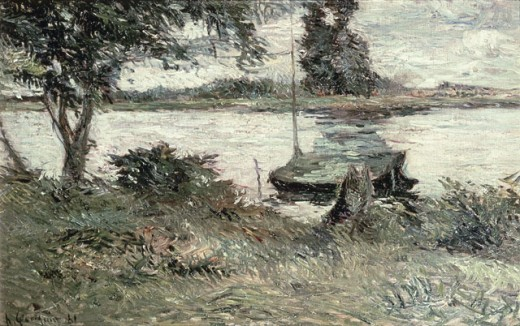 Stock Photo: 463-3923 Riverbank, 1881, Gauguin, Paul(1848-1903 French), Oil On Canvas Private Collection