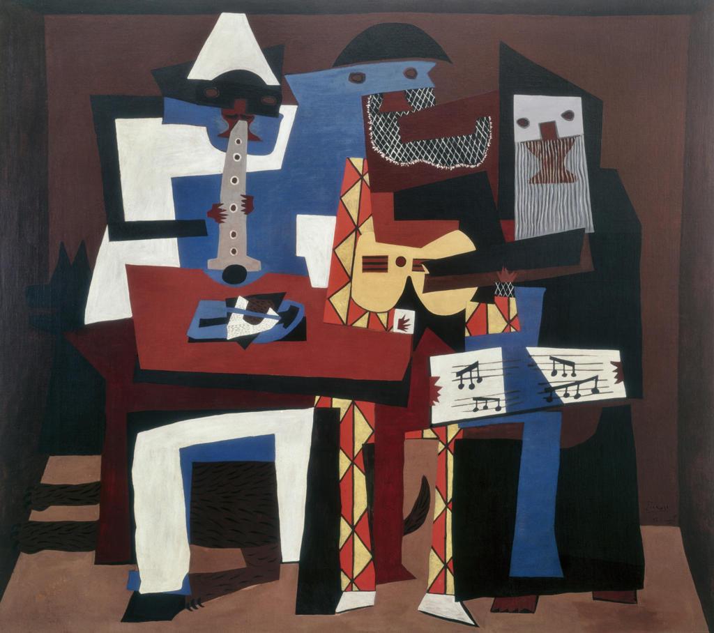 Stock Photo: 463-3933 Three Musicians 1921 Pablo Picasso (1881-1973 Spanish) Museum of Modern Art, New York City, USA