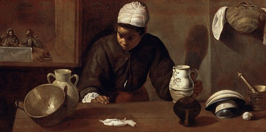 Stock Photo: 463-3936 Kitchen Maid with the Supper at Emmaus 