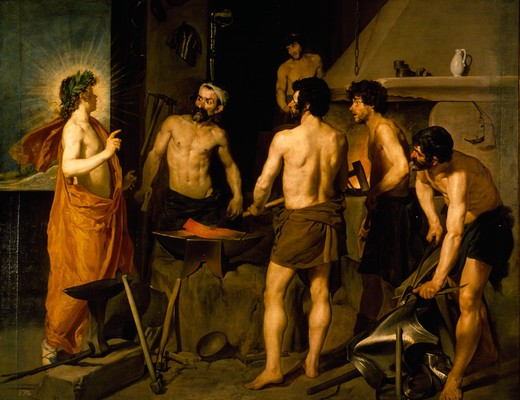 The Forge of Vulcan by Diego Velazquez,  1599-1660 Spanish,  1630 : Stock Photo