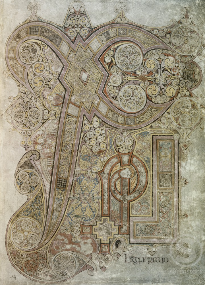 "Stock Photo: 463-3983 Book of Kells: Initial ""L""