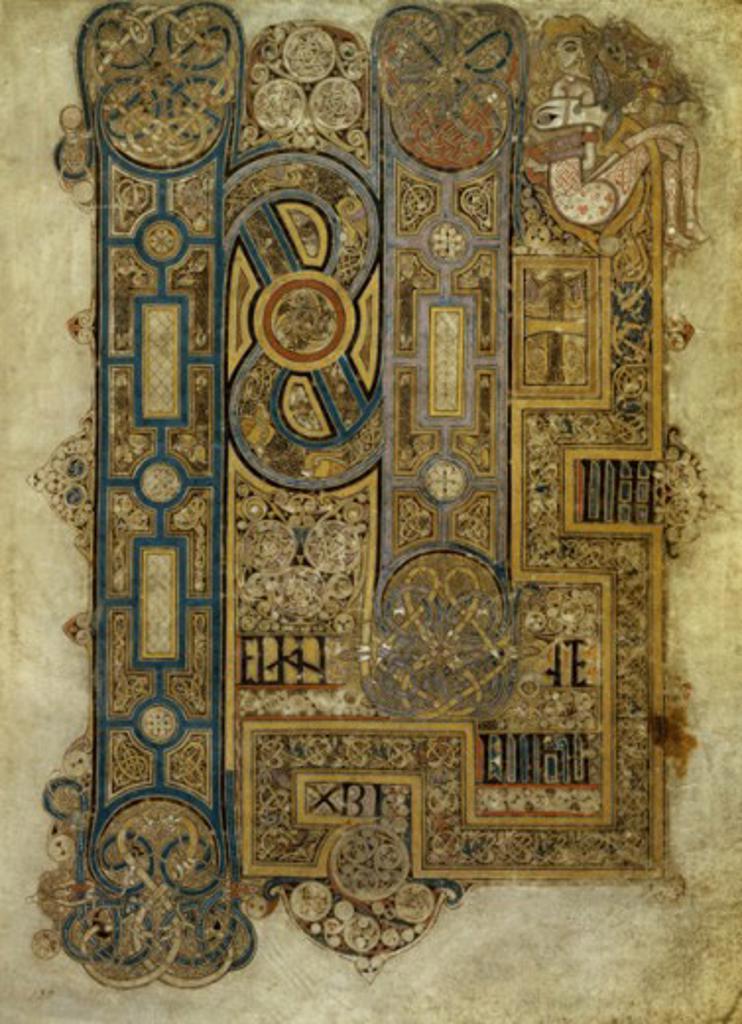 Book of Kells: Initial of the Evangelium of Mark 8th Century Manuscripts Trinity College, Dublin, Ireland : Stock Photo