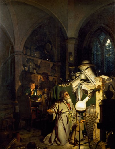 The Alchemist (The Discovery of Phosphorus Through Henning Fire in Hamburg 1669)