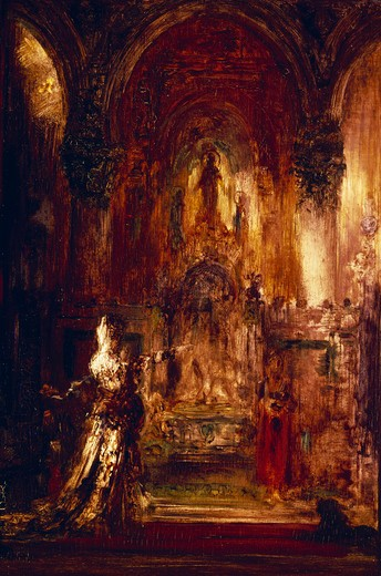 Stock Photo: 463-4044 Salome Dancing Before Herod by Gustave Moreau,  1826-1898,  French,  oil on canvas,  Private Collection,  19th century