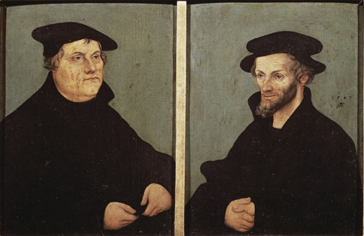 Stock Photo: 463-4064 Portraits of Martin Luther and Philipp Melanchthon