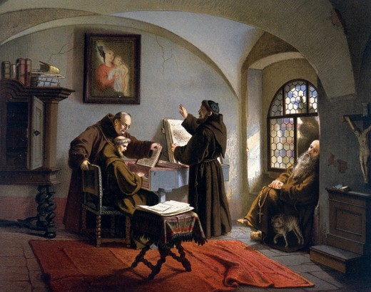 Stock Photo: 463-4077 Cloistered Life by Otto Johann Heinrich Heyden,  1820-1897,  German color lithograph,  1860