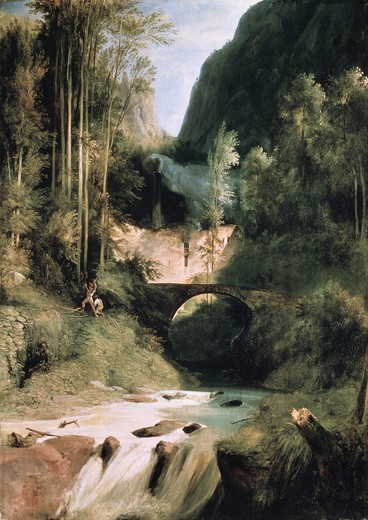Stock Photo: 463-4187 Gorge Near Amalfi by Karl Blechen,  Germany,  Berlin,  Staatliche Museen Preussischer Kulturbesitz,  (Nationalgalerie),  1831