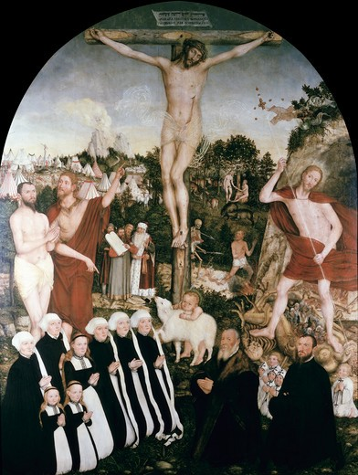 Stock Photo: 463-4191 Crucifixion of Christ by Lucas Cranach the Younger,  1515-1586,  German,  oil on wood panel,  Germany,  Leipzig,  Museum der Bildenden Kunste,  1557