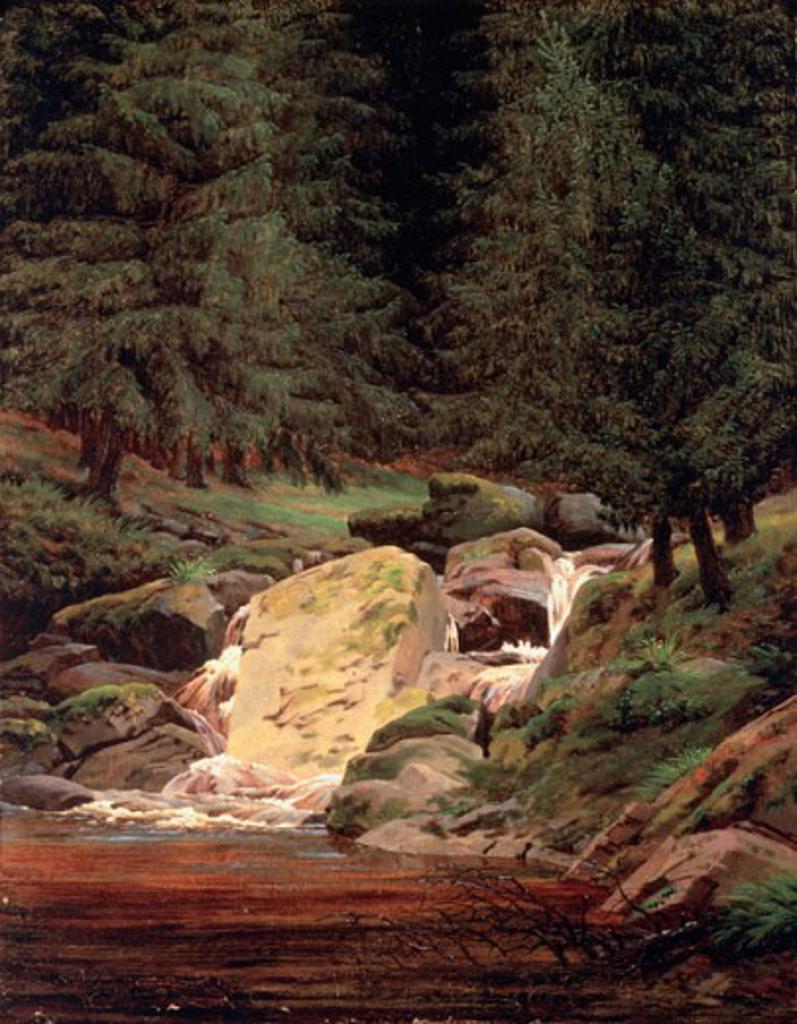 Stock Photo: 463-4193 Waterfall in Pine Forest Caspar David Friedrich (1774-1840 German) Sotheby's, London