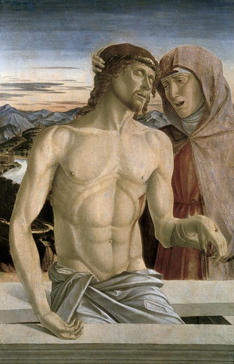 Stock Photo: 463-4236 Maria With Christ's Body by Giovanni Bellini,  ca.1430-1516,  Italian,  oil on wood panel,  Germany,  Dresden,  Gemaldegalerie