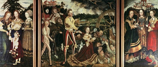Stock Photo: 463-4238 Altar Of Katharina-Middle Panel 1506 Lucas Cranach the Elder (1472-1553 German) Oil On Wood Panel Gemaldegalerie, Dresden, Germany