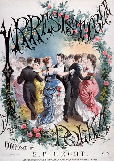 Stock Photo: 463-4333 Irresistible Polka/ Composed by S.P. Hecht C.,  artist unknown,  color lithograph,  1885