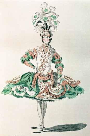 Stock Photo: 463-4334 Dancer Laval as a Greek,  artist unknown,  drawing,  1750