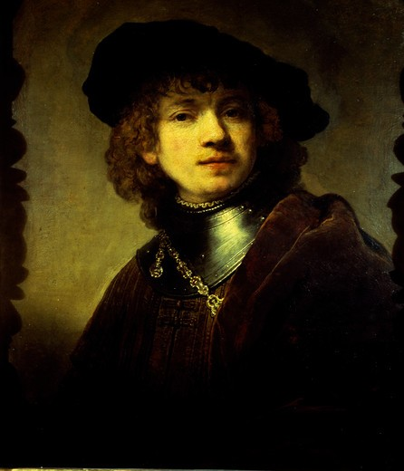 Stock Photo: 463-4353 Self-portrait With Iron Collar by Rembrandt Harmensz van Rijn,  1606-1669,  Dutch,  oil on canvas,  Italy,  Florence,  Galleria degli Uffizi,  1633/34