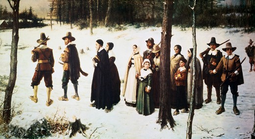 Stock Photo: 463-4402 The First Thanksgiving Day by George Henry Boughton,  1833-1905,  American,  oil on canvas,  1867