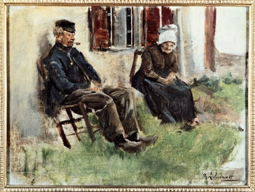 Stock Photo: 463-4439 Study from Holland: Elderly Couple in Front of Their Home