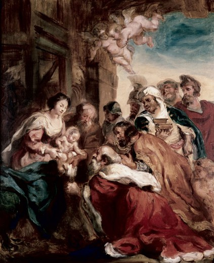 Stock Photo: 463-4610 Adoration of the Kings,(Copy of an original by Rubens) Euguene Delacroix (1798-1863, French)